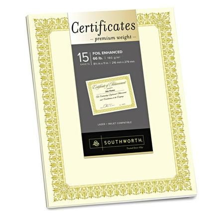 Southworth Premium Certificates, Ivory , Fleur Gold Foil Border, 66 lb, 8.5 x 11, 15/Pack -SOUCTP1V - Halloween Award Certificates