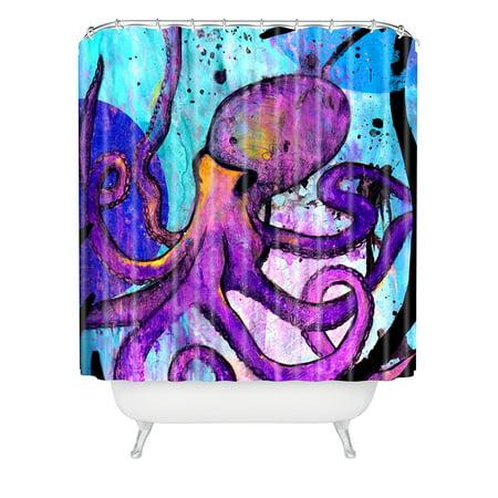 Deny Designs Sophia Buddenhagen Purple Octopus Shower Curtain, 69
