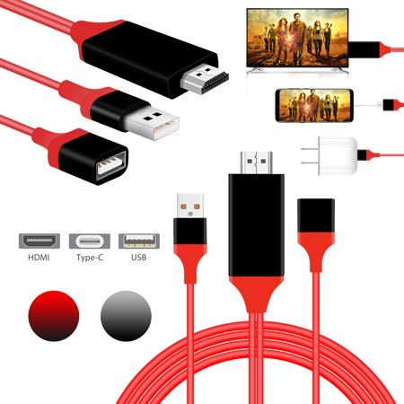 Phone to HDMI TV Cable Support Android iphone Samsung to 1080P HDTV Cord, Mirror Mobile Phone Screen to TV HDTV Projector, 3 in 1 USB Female to HDMI Cable,