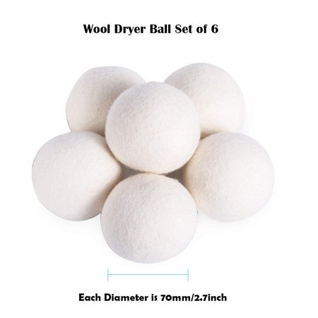 Mirthee Organic Wool Dryer Balls Set (7 CM Diameter) Resuable Natural Fabric Softener Best for Laundry Replace Dryer Sheets (6 (Best Dryer Balls 2019)
