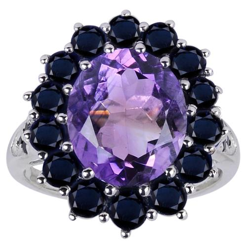 Orchid Jewelry Mfg Inc Orchid Jewelry 925 Sterling Silver 7 1/20ct Genuine Amethyst, Sapphire, and Spinel Ring