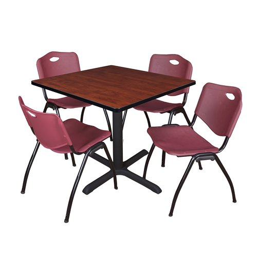 "Cain 42"" Cherry Square Breakroom Table and 4 'M' Stack Chairs, Multiple Colors"