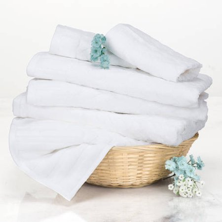 6 Piece Cotton Deluxe Plush Bath Towel Set Chevron Pattern Plush Sculpted Spa Luxury Decorative Body Hand And Face Towels By Somerset Home White