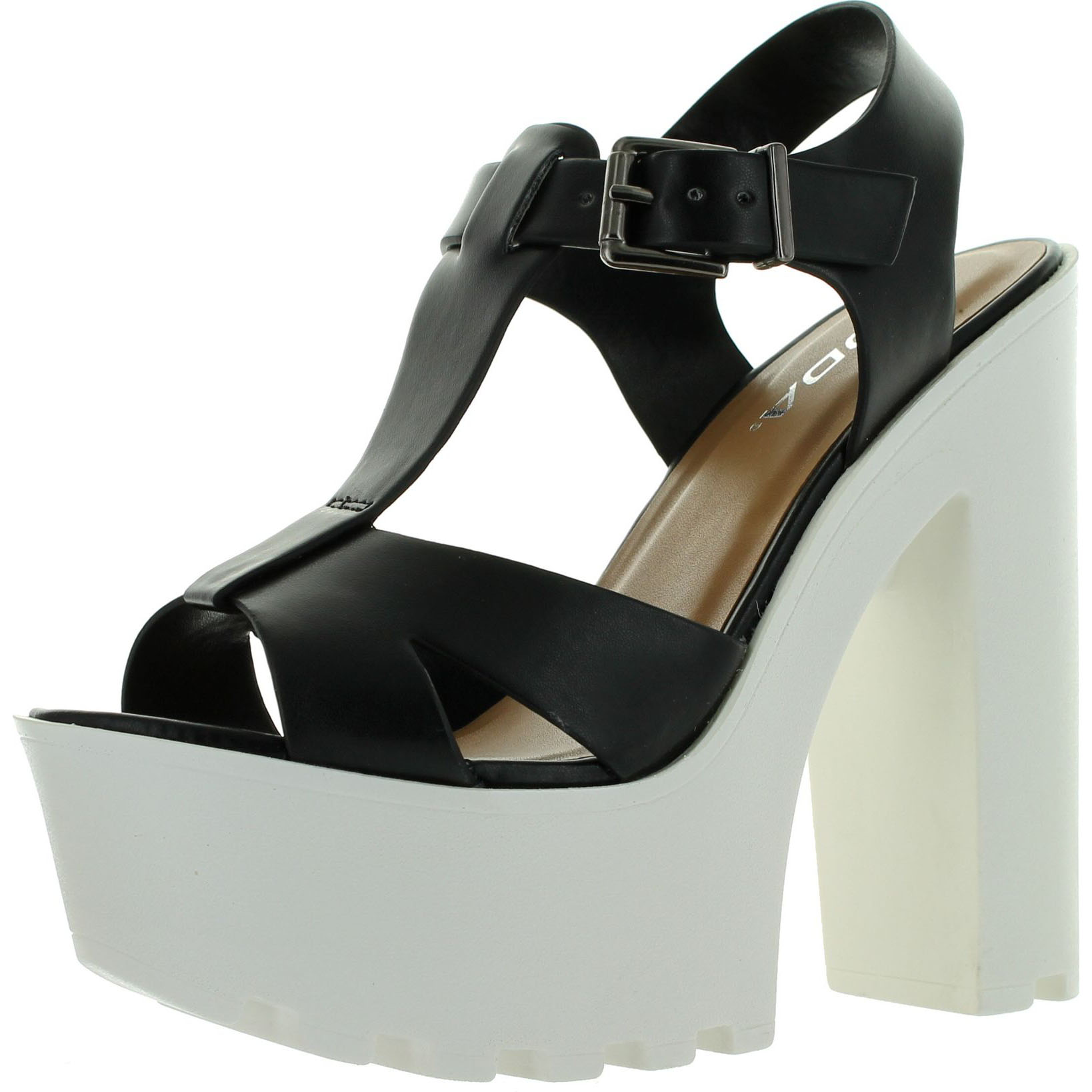 Soda Womens Lab T-Strap Lug Sole Platform Chunky Heel Dress Sandals
