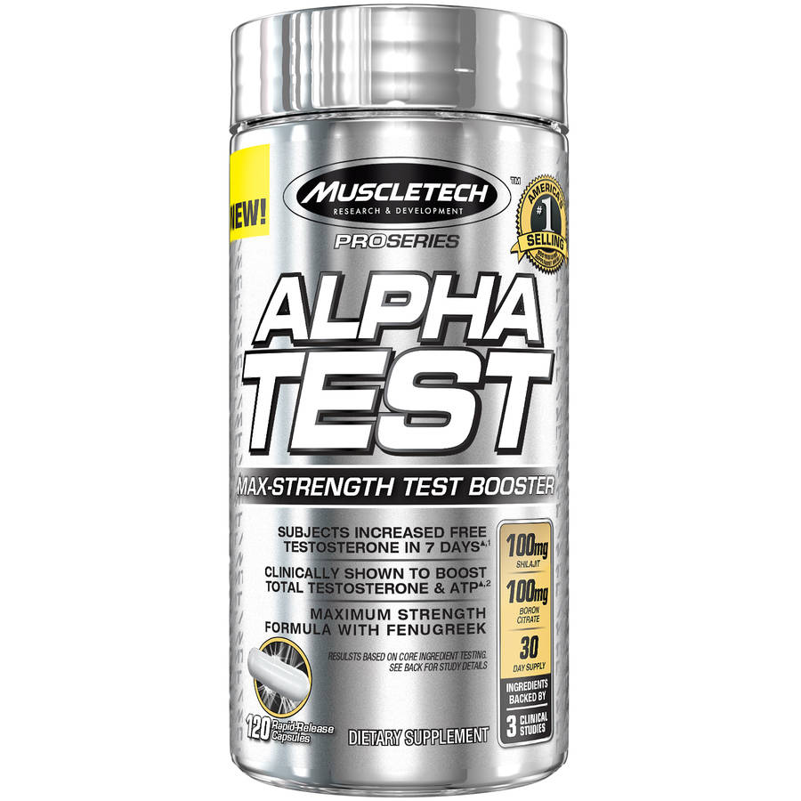 MuscleTech Pro Series AlphaTest Rapid-Release Dietary Supplement Capsules, 120 count