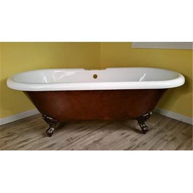 60 X 29 In. Acrylic Slipper Clawfoot Bathtub Faux Copper Bronze Finish With  7 In. Deck Mount Faucet Drillings U0026 Oil Rubbed Bronze Feet