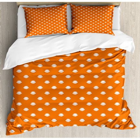 Orange And White Queen Size Duvet Cover Set Anese Lotus Flower Silhouettes Blossoming Spring Season