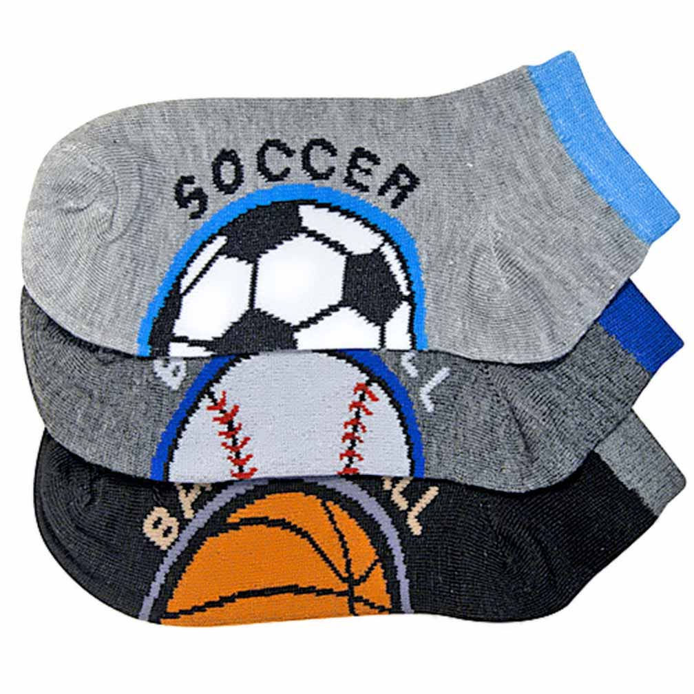 Luxury Divas Sports Ball Print 3 Pack Boys Ankle Socks