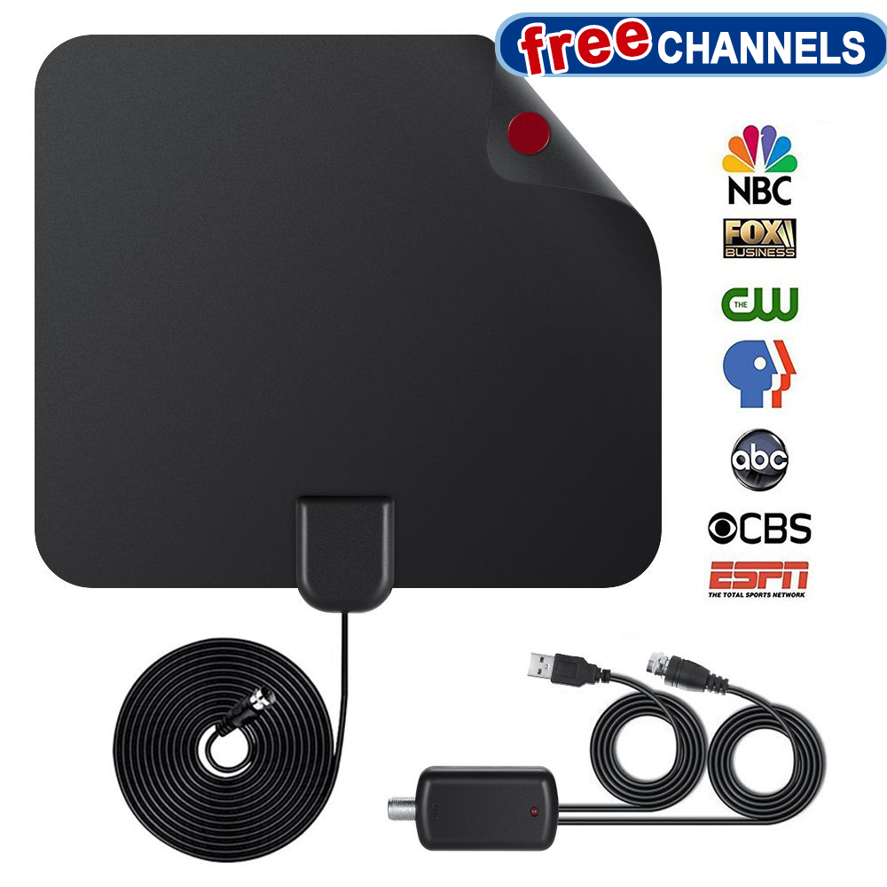 TV Antenna Indoor - Auchen 60-80 Mile Digital HDTV Antenna with Amplifier Signal Booster for 1080P 4K HD VHF UHF Free TV Channels - Support All TV's - 2018 NEWEST VERSION