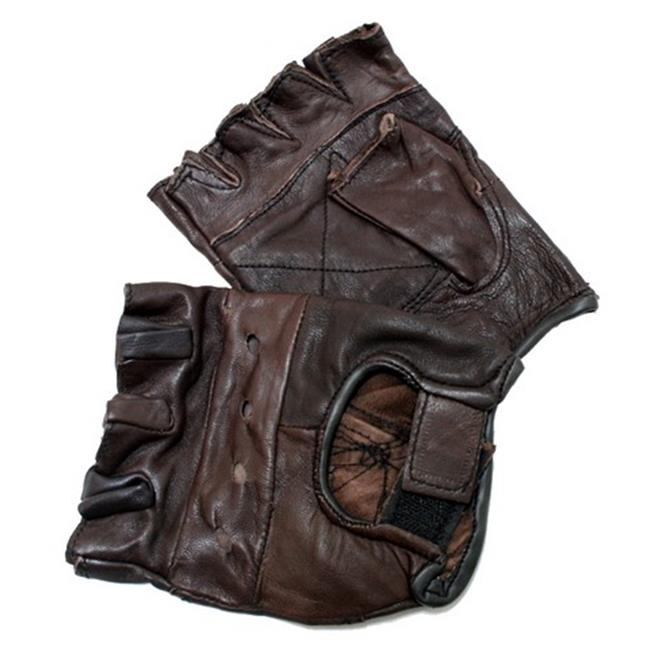 280-BRON Brown Leather Finger Less Gloves