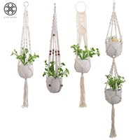 Luxtrada Indoor Outdoor Hanging Plant Holder Hanging Planter Stand Flower Pots Plant Hanger Cotton Yarn With Bead / Twist Knit