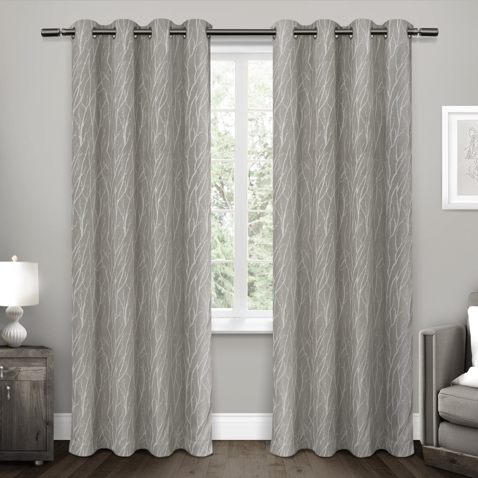 Exclusive Home Curtains 2 Pack Forest Hill Woven Grommet Top Curtain Panels