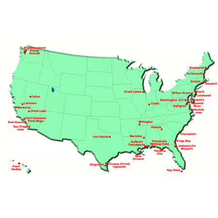 Map Of Us Navy Bases In The United States Last Updated In 2004 - Map-of-us-navy-bases
