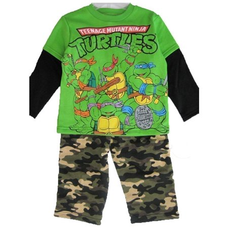 Little Boys Green Ninja Turtles Camouflage 2 Pc Pants Set 2T-5