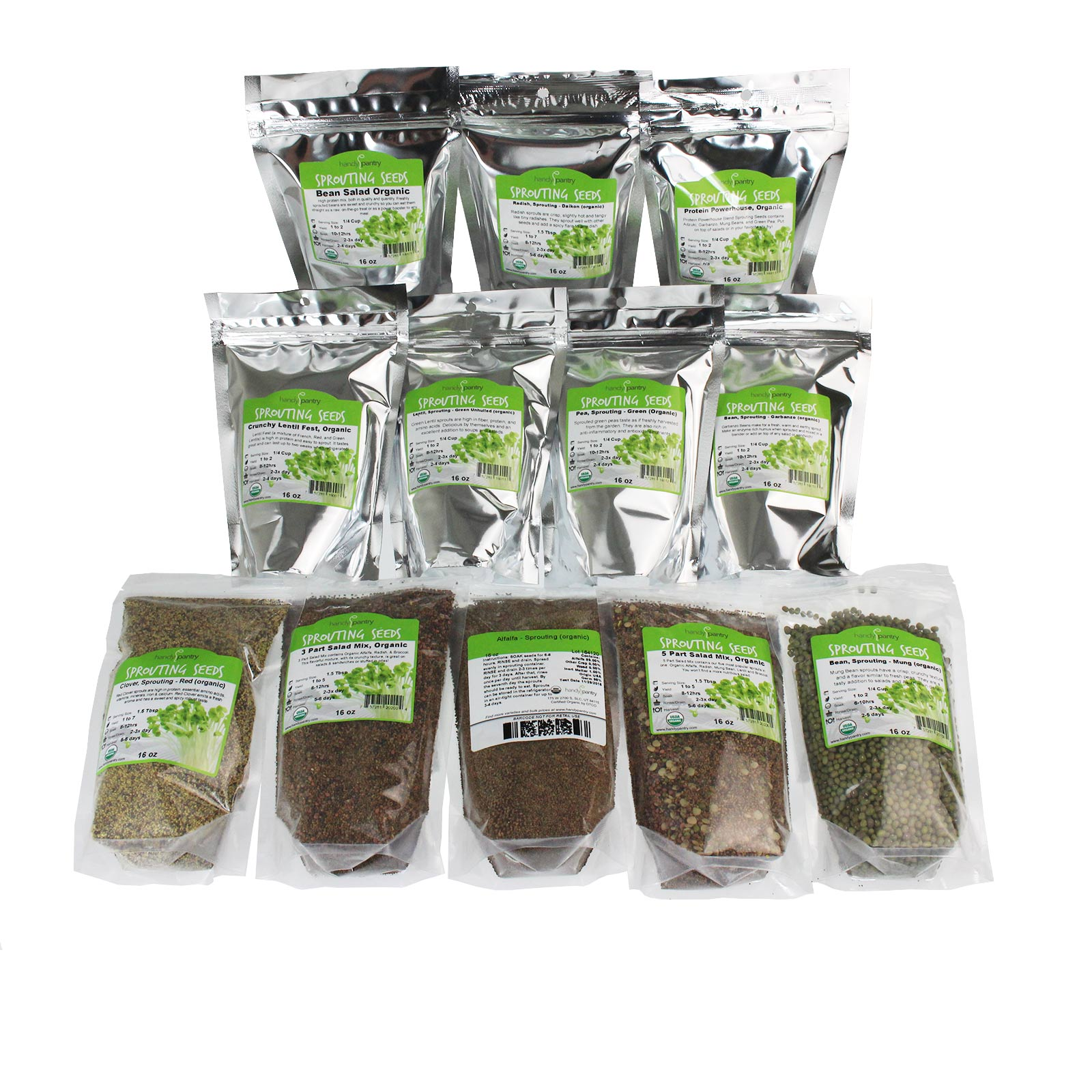 12 Lb Sprouting Seed Assortment 1 Lb Ea. of Organic Sprout Seeds Alfalfa, Radish, Clover,... by Handy Pantry