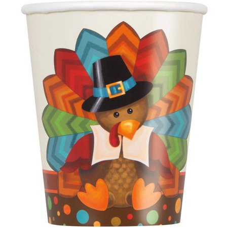 Turkey Cups (Cute Turkey Thanksgiving Paper Cups, 9 oz, 8ct )
