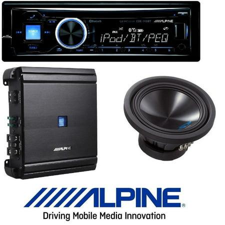ALPINE Car Stereo CD/USB Receiver w/ Advanced Bluetooth W/ Alpine 500 Watt RMS Mono Amplifier Class D Digital Car Amp+ 10