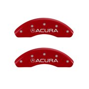 MGP 4 Caliper Covers Engraved Front Acura Engraved Rear TSX Red finish silver ch