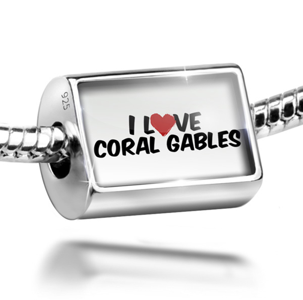 Bead I Love Coral Gables Charm Fits All European Bracelets by NEONBLOND