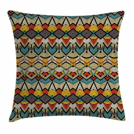 12 Inch Square Toss Pillow - African Throw Pillow Cushion Cover, Tribal Chevron Zigzags and Half Circles Folkloric Elements Sharp Canonical Motifs, Decorative Square Accent Pillow Case, 18 X 18 Inches, Multicolor, by Ambesonne
