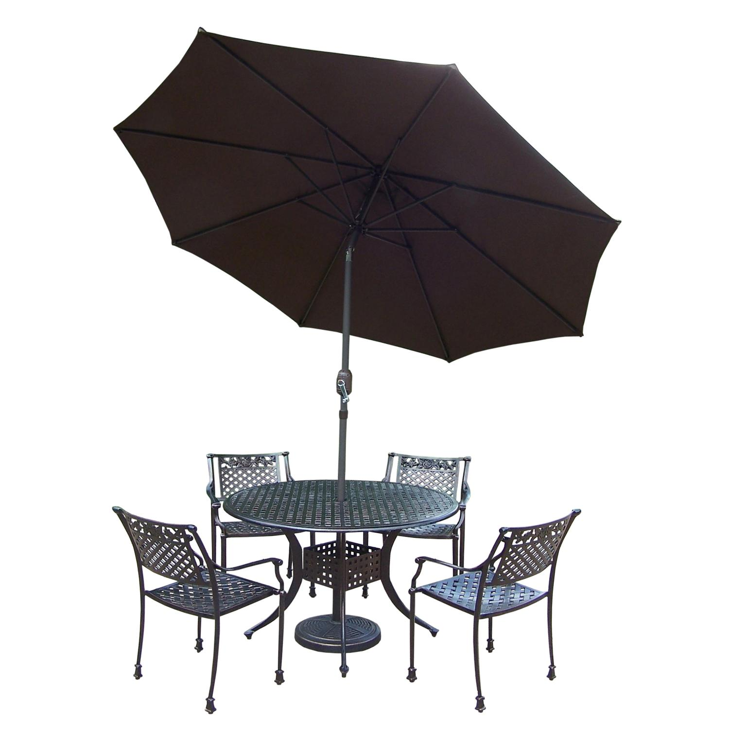 7 Pc. Antiqued Bronze Ornate Rose Outdoor Patio Dining Set with Brown Umbrella