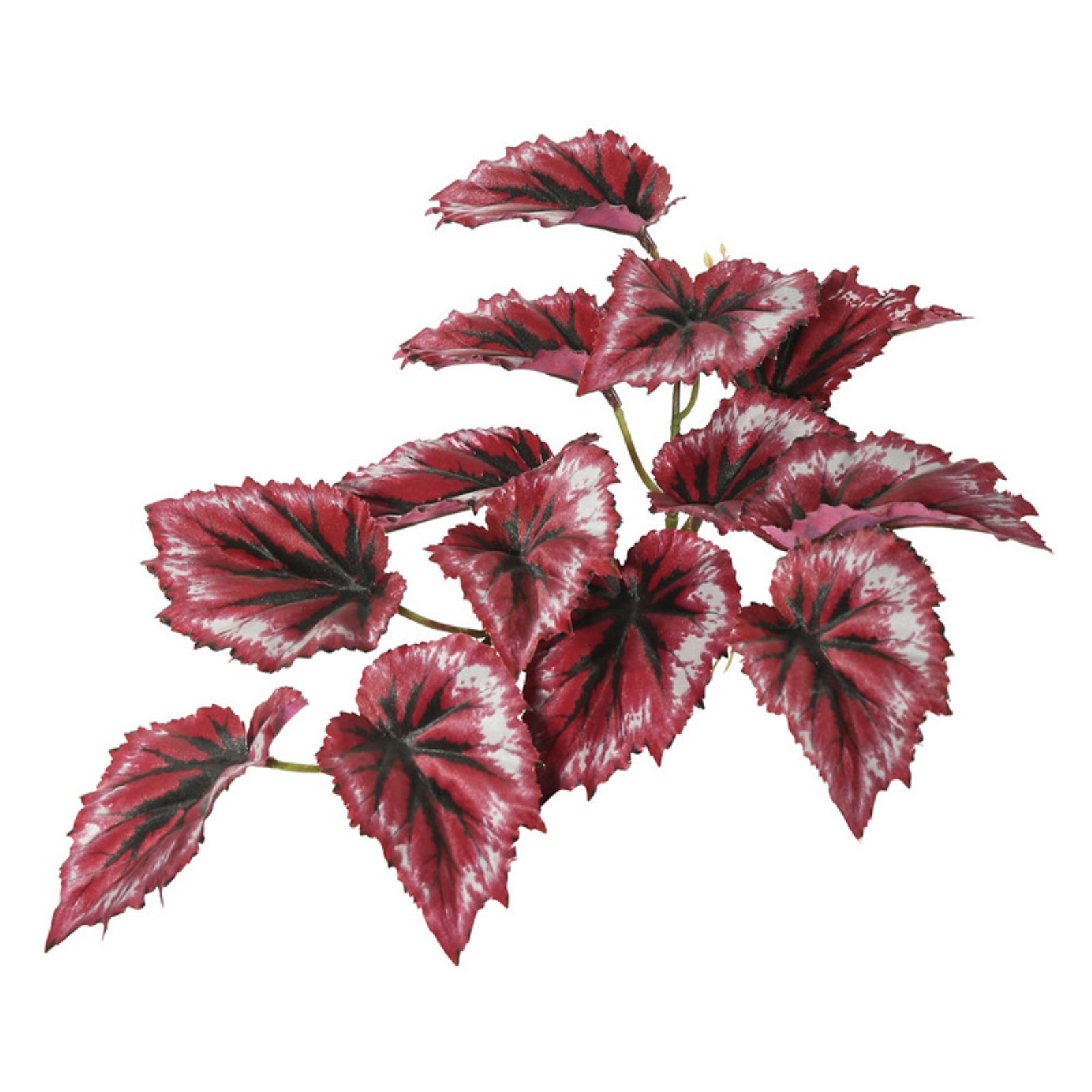 """Vickerman 12"""" Artificial Red Begonia Hanging Bush Featuring 3 Branches with 13 Leaves"""