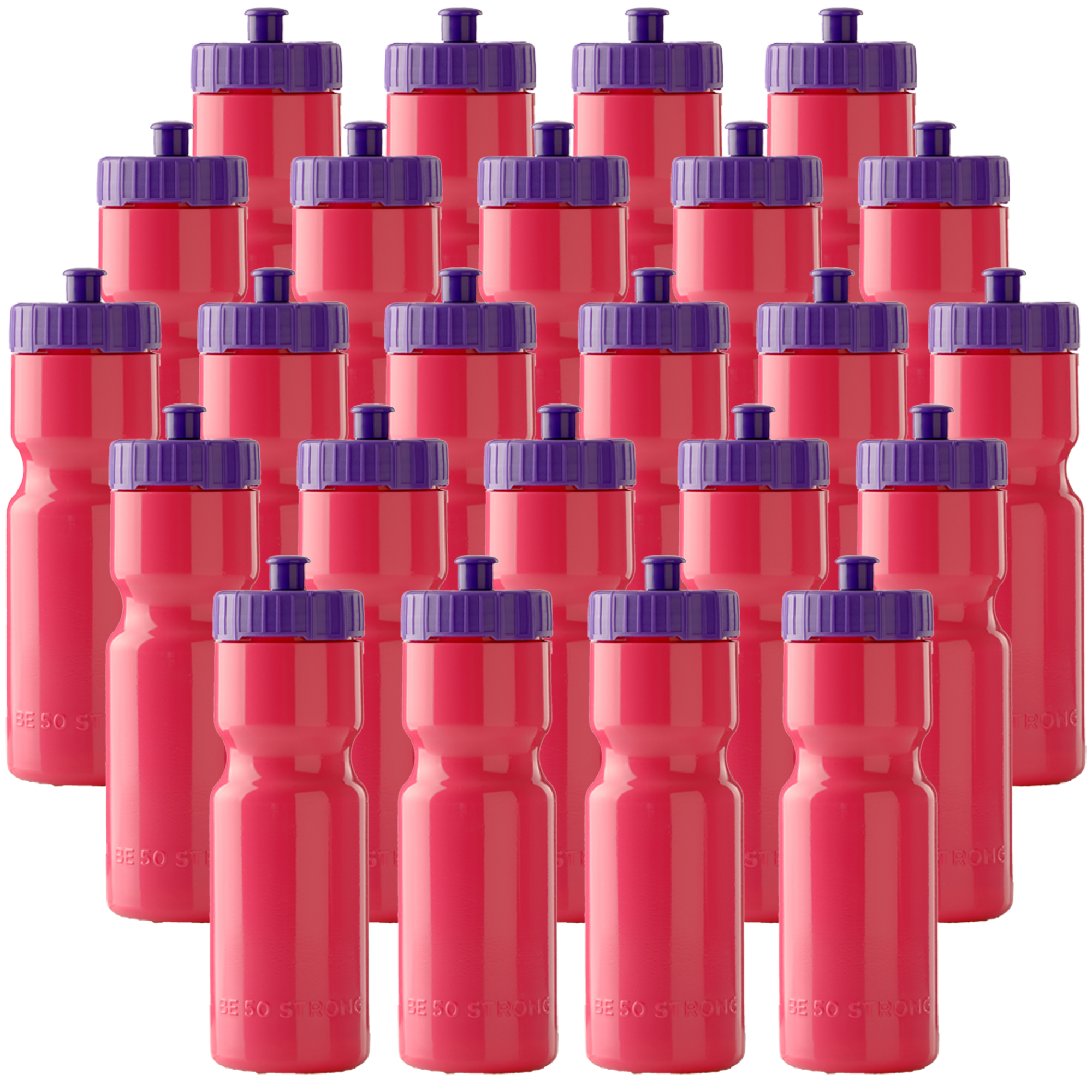 50 Strong Sports Squeeze Water Bottle Bulk Pack - 24 Bottles - 22 oz. BPA Free