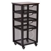 Garret Black 4-Drawer Rolling Cart with Espresso Wood Top, Fully Assembled