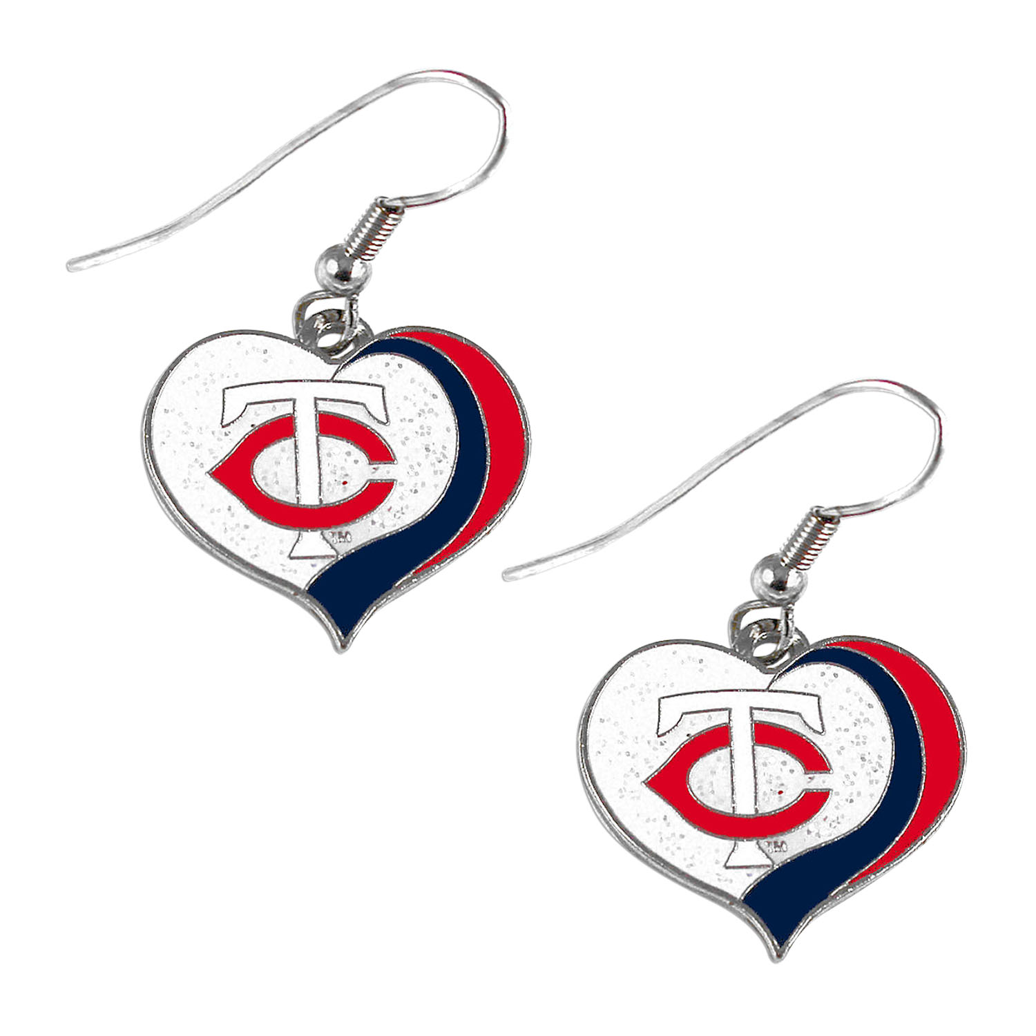 Minnesota Twins MLB Glitter Heart Sports Team Logo Earring Swirl Charm Set