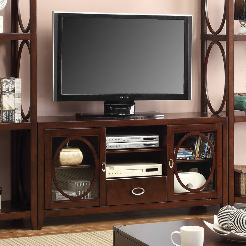 Furniture of America 56 in. Media Cabinet with Storage Cabinet Cherry by Furniture of America