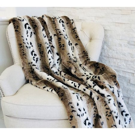 Plutus Snow Lynx Faux Fur Luxury Throw (Faux Lynx)