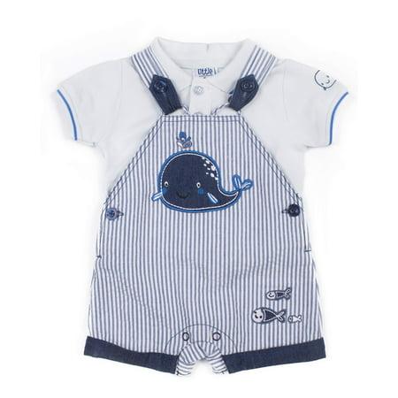 - Baby Boy Polo Shirt & Shortalls, 2pc Outfit Set