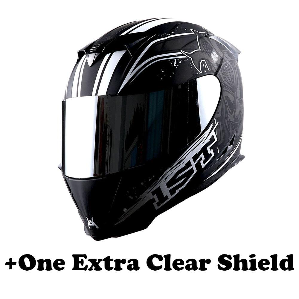 1Storm Motorcycle Full Face Helmet Street Bike Skull King HJK311 + One Extra Clear Shield; Matt Black