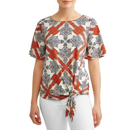 Women's Tie Front Printed Short Sleeve Top