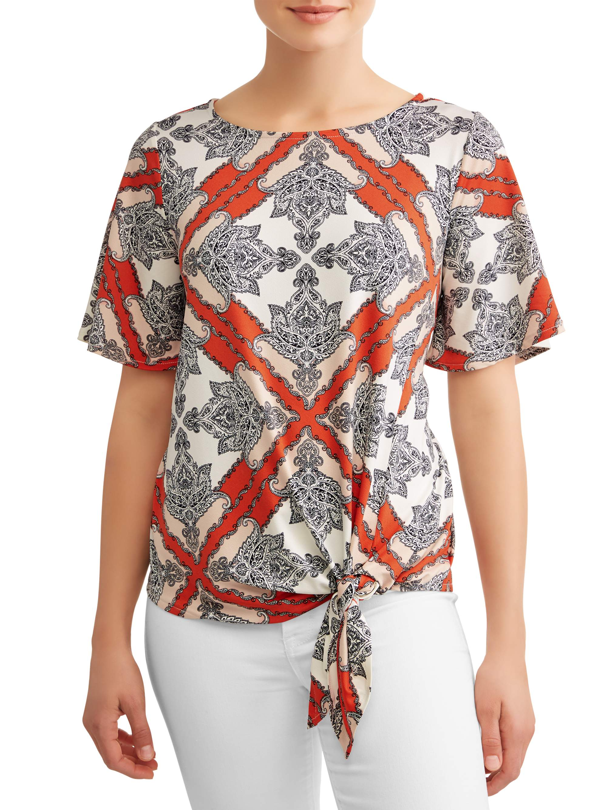 Women's Tie Front Printed Short Sleeve Top