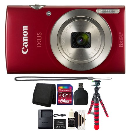 Canon PowerShot IXUS 185 / Elph 180 20MP Compact Digital Camera Red with 64GB Top Accessory Kit