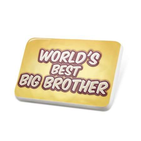 Porcelein Pin Worlds best Big Brother, happy yellow Lapel Badge – NEONBLOND
