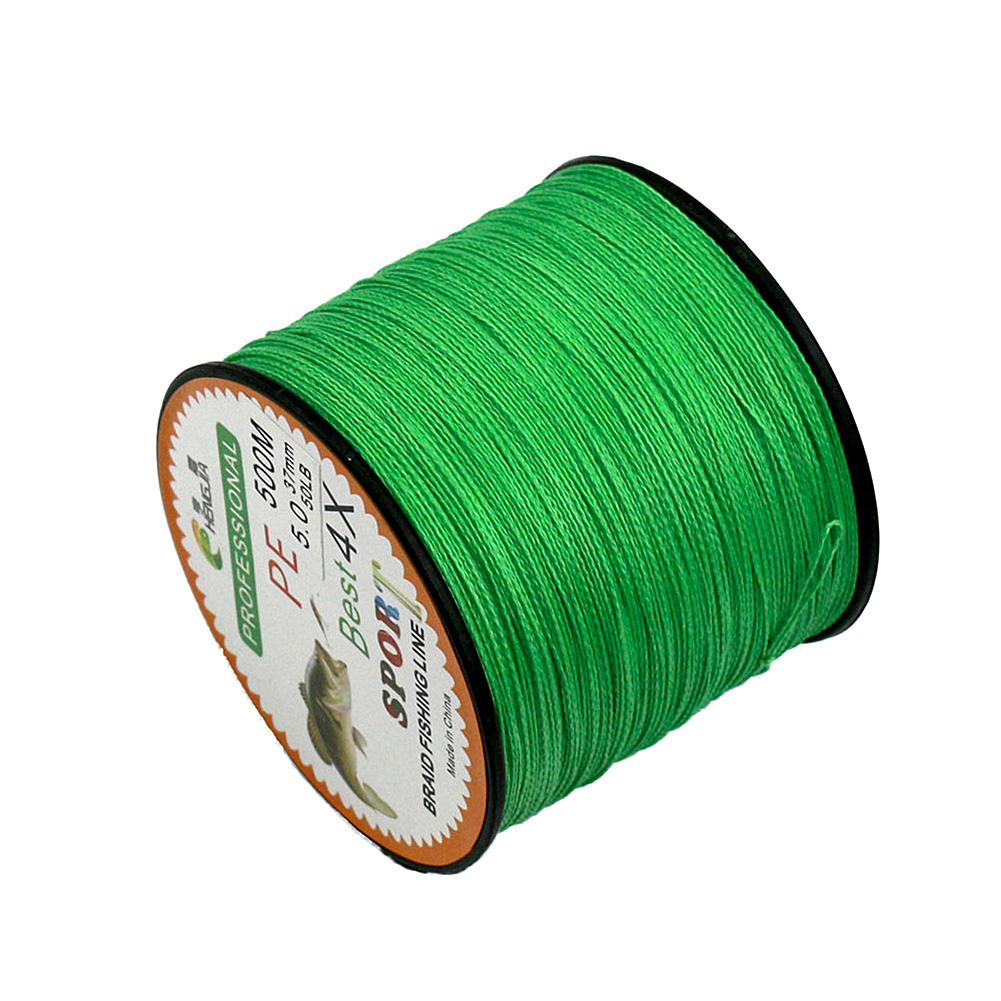 4 Strands Braided Fishing Line Super Strong Pe 500m Fishing Line Color Green Size 0 40mm 60lbs