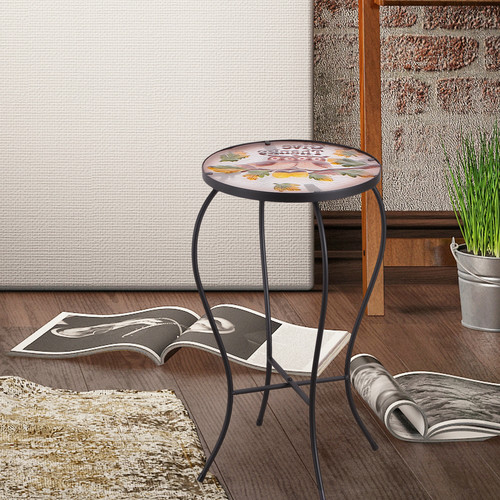 Click here to buy Adeco Accent Round Glass Top Side Table   Plant Stand by Adeco.