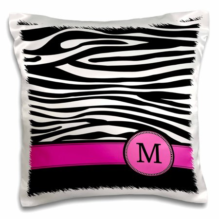 3dRose Letter M monogrammed black and white zebra stripes animal print with hot pink personalized initial, Pillow Case, 16 by 16-inch (Monogram M)