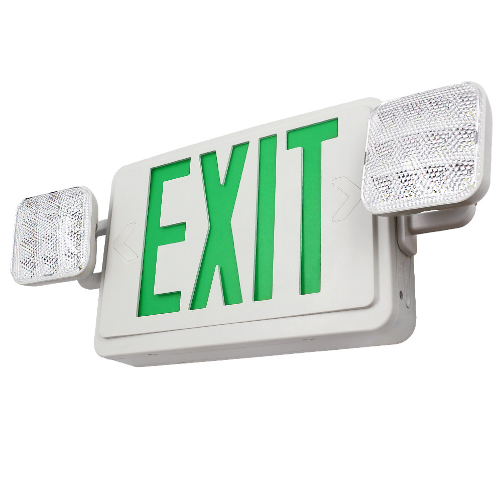 Click here to buy LED Dual Single Face Combo EXIT Sign and Emergency Light, Red Letter, Dual Square Head, Rechargeable Battery Backup.
