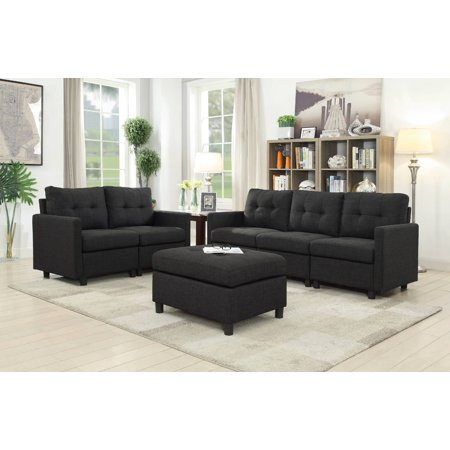 Groovy Scot Ash Black 6 Pc Modular Sectional With Ottoman Walmart Com Machost Co Dining Chair Design Ideas Machostcouk
