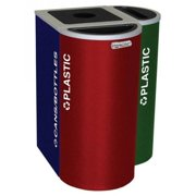 Ex-Cell Kaiser RC-KDHR-T RBX 8-gal recycling receptacle- half round top and Trash decal- Ruby Texture finish