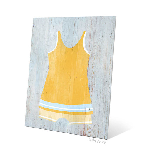 Click Wall Art Vintage Yellow Beach Outfit Illustration Graphic Art Plaque