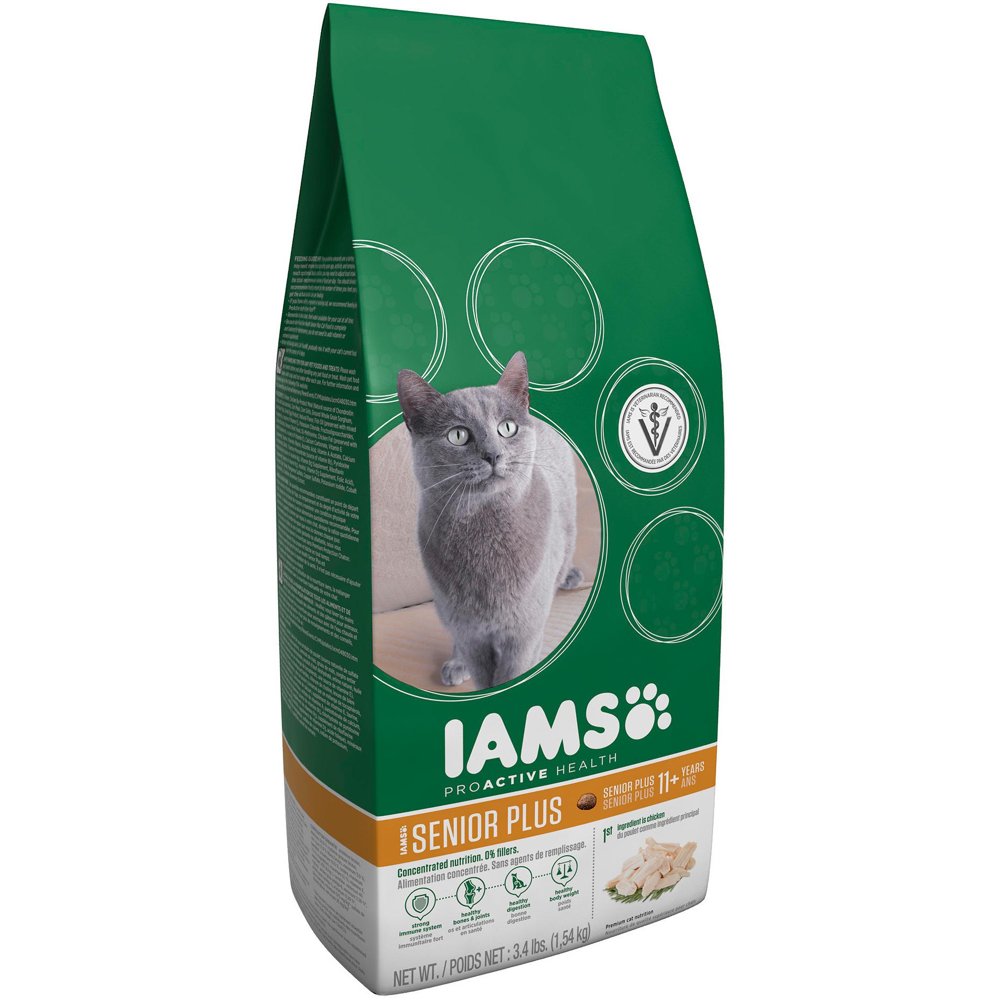 Iams ProActive Health Adult Senior Plus Premium Cat Food 3.4 lbs