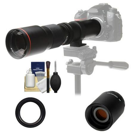 Vivitar 500mm f/8.0 Telephoto Lens with 2x Teleconverter (=1000mm) + Kit for Nikon D3200, D3300, D5300, D5500, D7100, D7200, D610, D750, D810