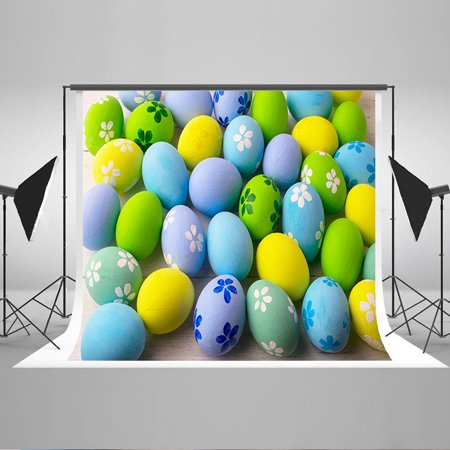 GreenDecor Polyester Fabric 7x5ft Easter Photography Backdrop Easter Eggs Photo Background for $<!---->