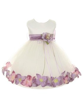 2b3c1202597 Product Image Kids Dream Baby Girls Ivory Satin Petal Floating Flower Girl  Dress 6M