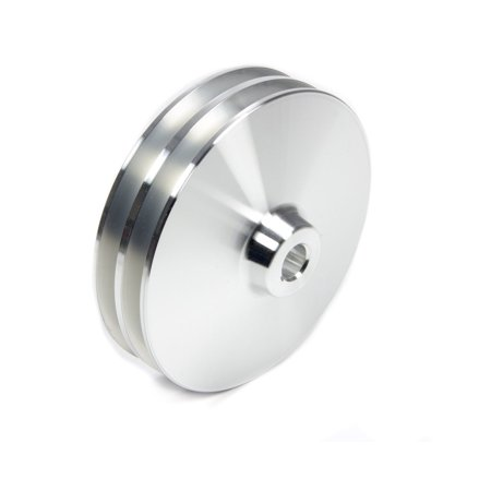 March Performance 521 Clear Powdercoat Aluminum 2 Groove Power Steering Pulley With Keyway