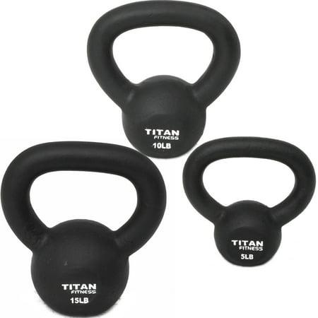 Cast Iron Kettlebell Weights Set 5 10 15 lb Solid Titan Fitness